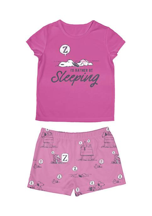 Girls 4-16 Short Sleeve T-Shirt and Shorts Pajama Set