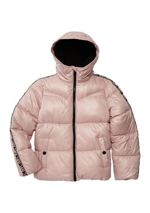 Girls 4-6x Logo Taping Puffer Jacket