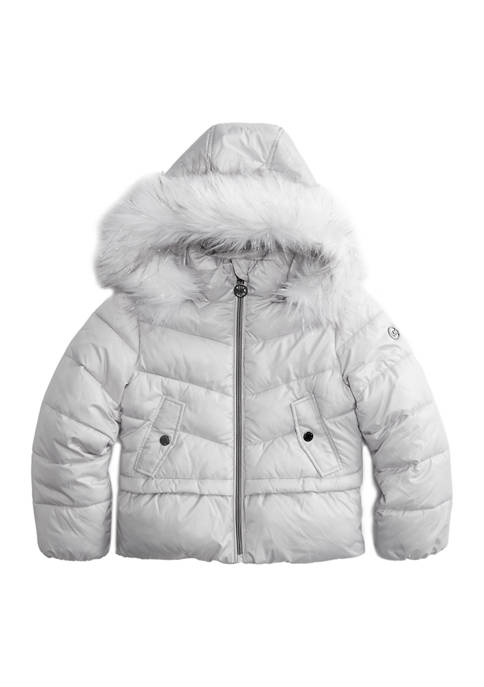 MICHAEL Michael Kors Girls 4-6x Peplum Puffer Coat