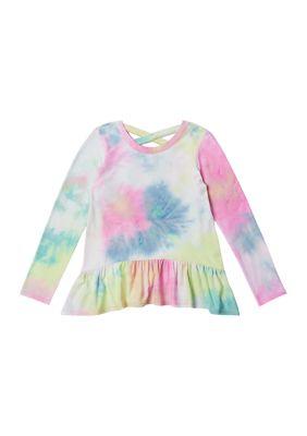 Zelos Girls Girls 7-16 Long Sleeve Tie Dye Peplum Top