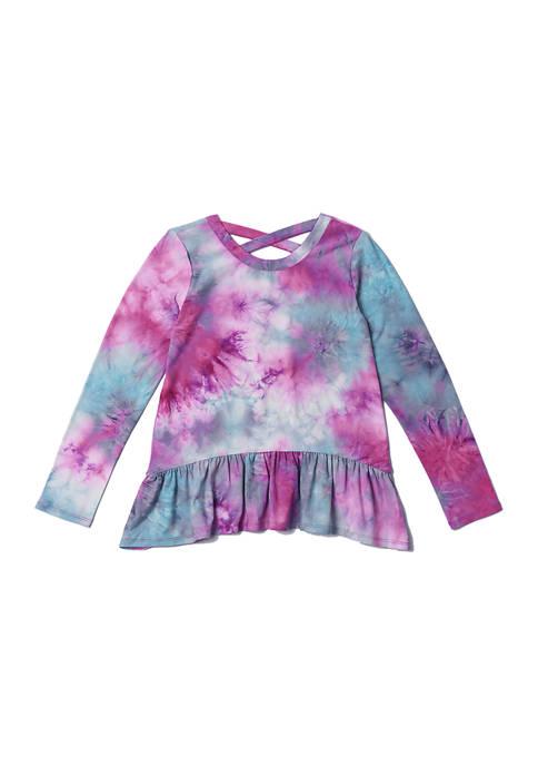 Girls 7-16 Jewel Tone Tie Dye Side Ruched Top