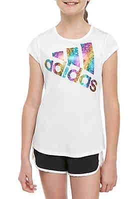 4757927bcc764 adidas Girls 7-16 Short Sleeve Rainbow Logo Tee ...