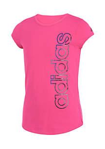 Girls 7-16 Short Sleeve Block Vertical Logo Tee