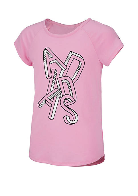adidas Girls 7-16 Short Sleeve Raglan Graphic Tee