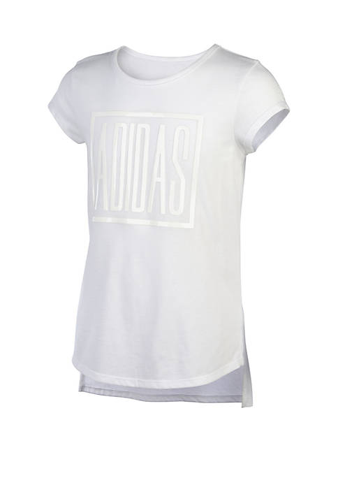adidas Girls 7-16 Short Sleeve Curved Hem Tee