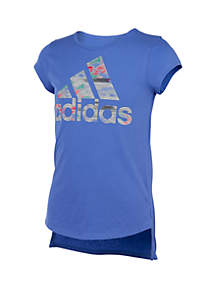 adidas Girls 7-16 Short Sleeve Curved Hem Tee