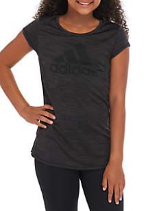 adidas Girls 7-16 Melange Ruffle Hem Top