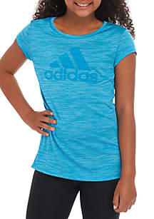 adidas Girls 7-16 Melange Ruffle Hem Top