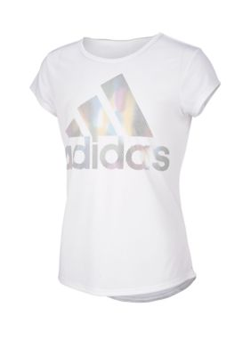 Adidas Girls Girls 7-16 Rainbow Foil Tee
