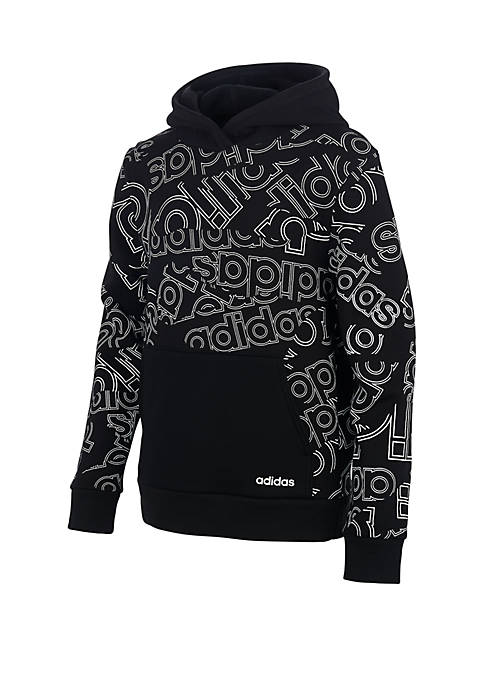 adidas Girls 7-16 Linear Print Hoodie