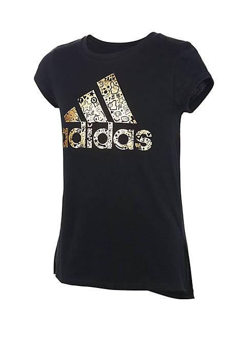 adidas Girls 7-16 Foil Logo Tee