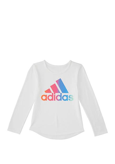 adidas Girls 7-16 Long Sleeve Rainbow Gradient T