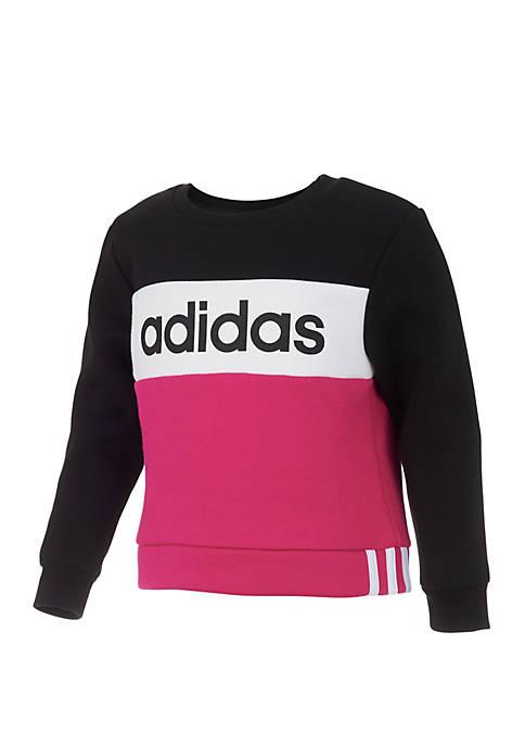 adidas Girls 7-16 Pieced Crew Neck Pullover