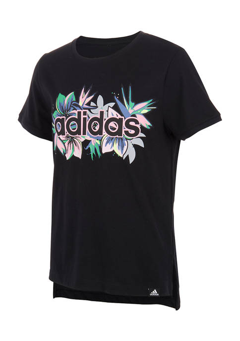 adidas Girls 7-16 Short Sleeve Droptail T-Shirt