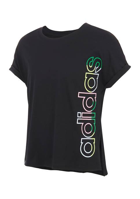 adidas Girls 7-16 Short Dolman Sleeve Waist T-Shirt
