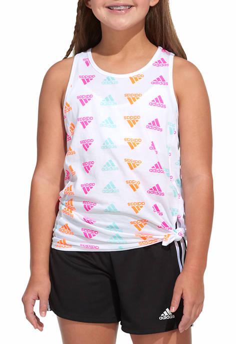 adidas Girls 7-16 Printed Tie Front Tank
