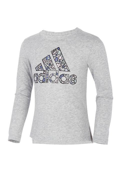 adidas Girls 4-6x Long Sleeve Side Vent Heathered