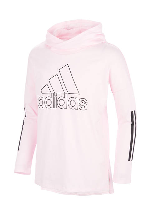 adidas Girls 4-6x Long Sleeve Hooded Graphic T-Shirt