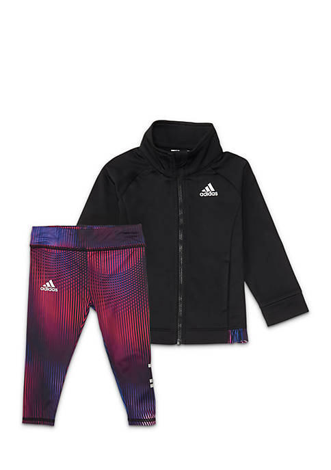 adidas Girls 2-6x Tricot Jacket and Tight Set