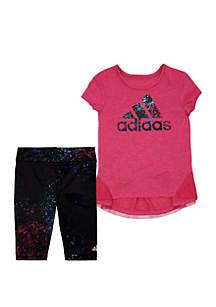 adidas Girls 2-6x Leap Capri Tight Set