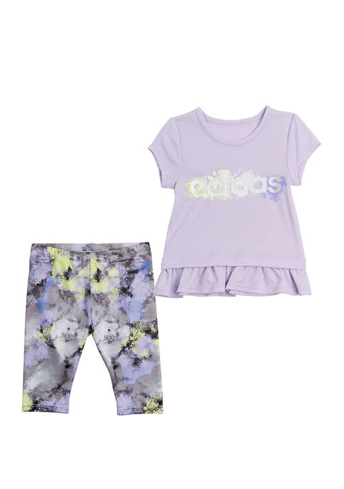 Girls 4-6x Short Sleeve Power Graphic T-Shirt & Capri Tights Set