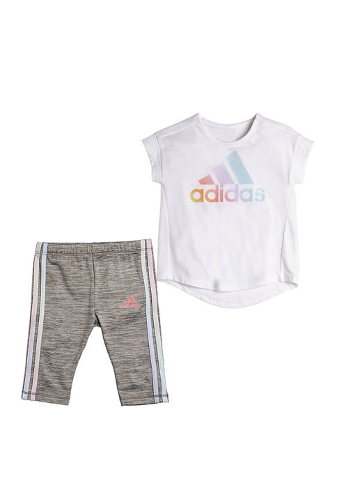 Girls 4-6x Short Sleeve Iridescence Graphic T-Shirt & Capri Tights Set