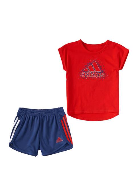 adidas Girls 4-6x Graphic T-Shirt and Shorts Set