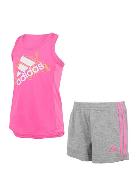 adidas Girls 4-6x Graphic Tank and Shorts Set