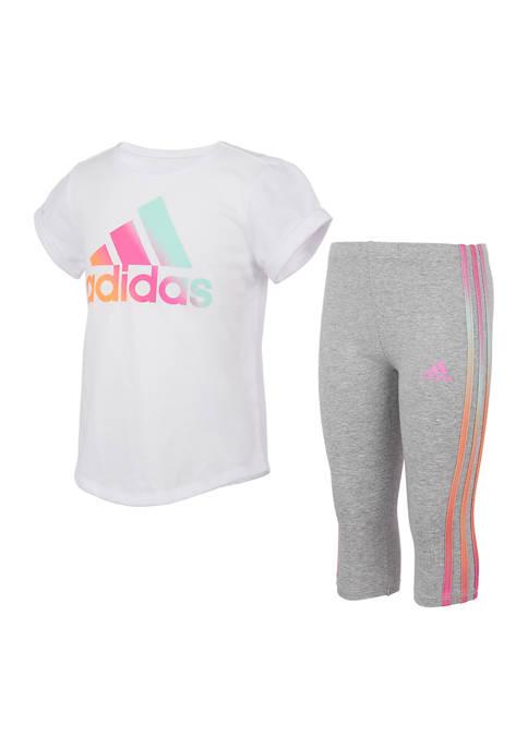adidas Girls 4-6x Iridescent 3 Stripe Capri Tights