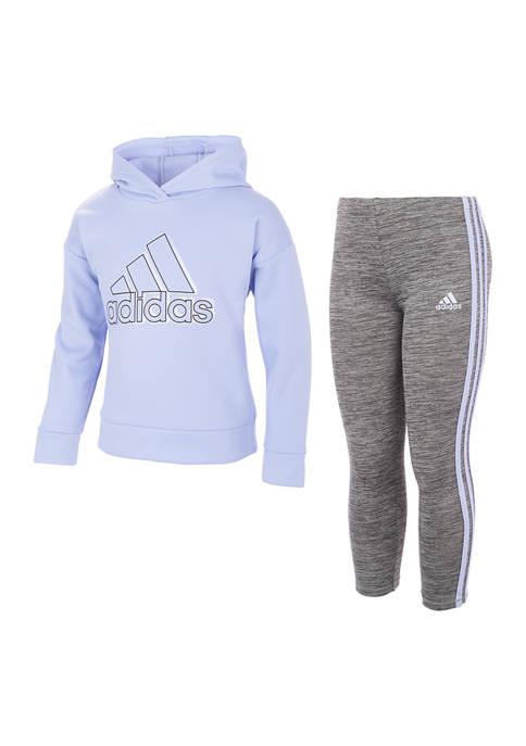 adidas Girls 4-6x Fleece Hoodie and Tights Set