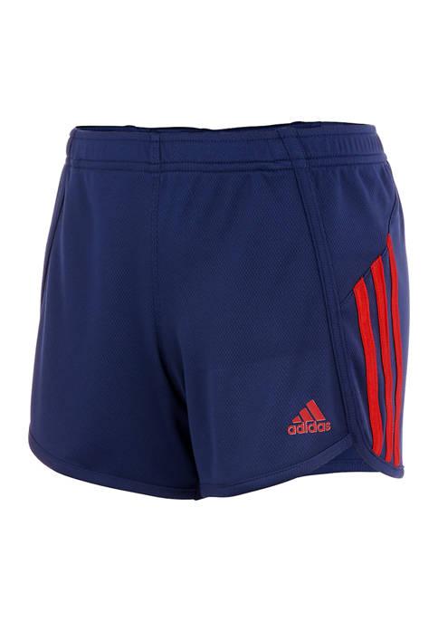 adidas Girls 7-16 Striped Mesh Shorts