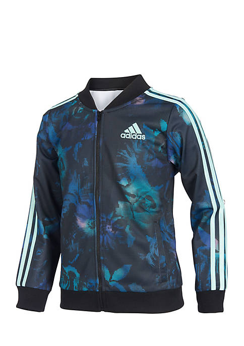 adidas Girls 7-16 Floral Glow Print Tricot Jacket