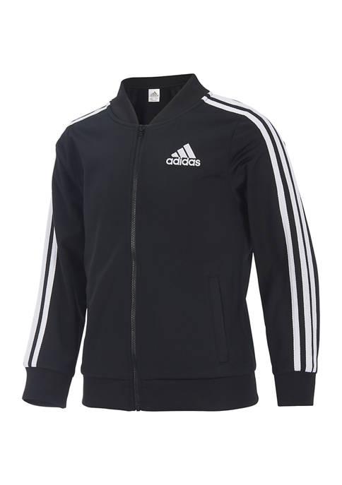 adidas Girls 7-16 3 Stripe Bomber Jacket