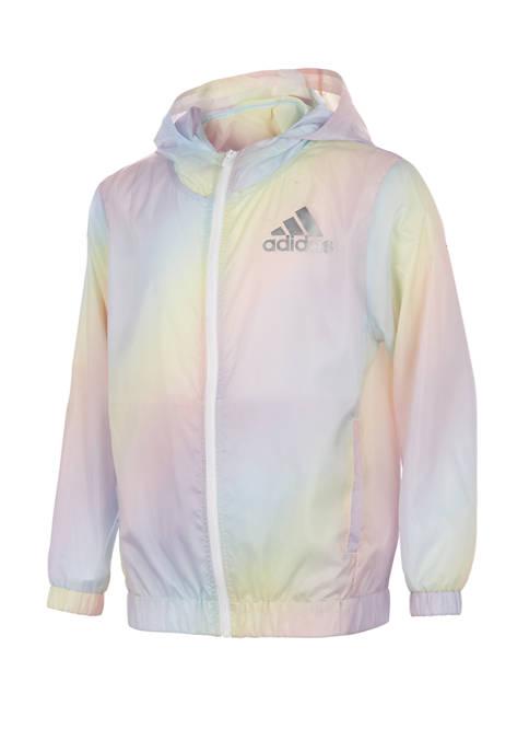 adidas Girls 7-16 Iridescence Wind Graphic Jacket
