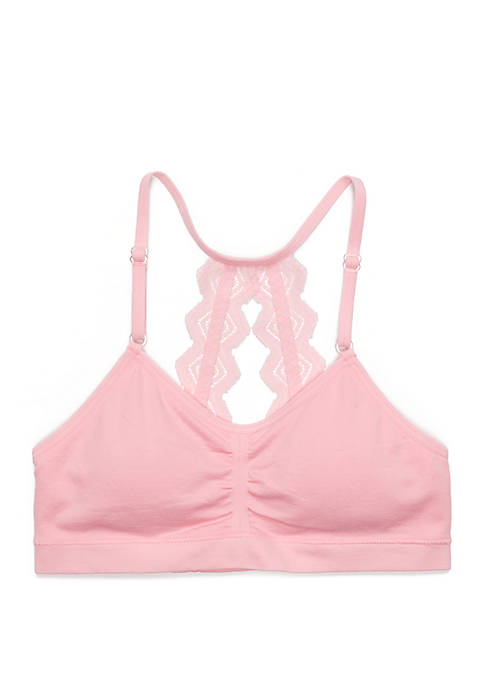 Girls 7-16 Double Lace Ruched Crop Training Bra