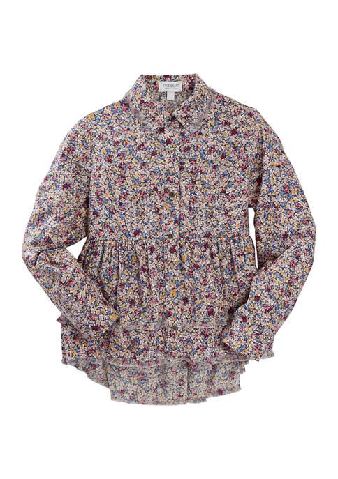 Girls 7-16 Printed Peplum Button Down Shirt