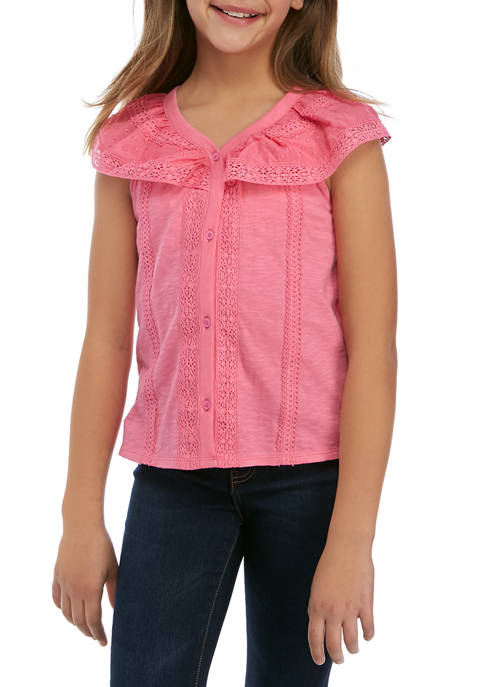 Girls 7-16 Mixed Lace Top