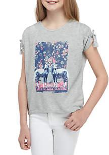 TRUE CRAFT Girls 7-16 Short Sleeve Drawcord Tee