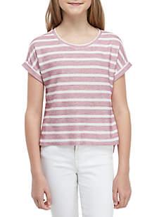 TRUE CRAFT Girls 7-16 Short Sleeve High Low Knit Top