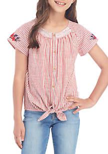 TRUE CRAFT Girls 7-16 Short Sleeve Smocked Neck Top