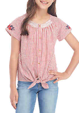 d6fd695f TRUE CRAFT Girls 7-16 Short Sleeve Smocked Neck Top ...