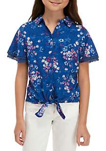 TRUE CRAFT Girls 7-16 Flounce Sleeve Shirt