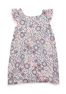 Girls 4-8 Woven Pom Pom Dress