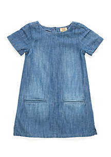 Girls 4-6x Short Sleeve Shift Dress