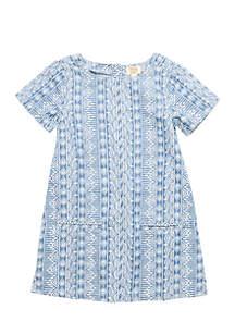 Girls 4-8 Short Sleeve Tribal Print Dress