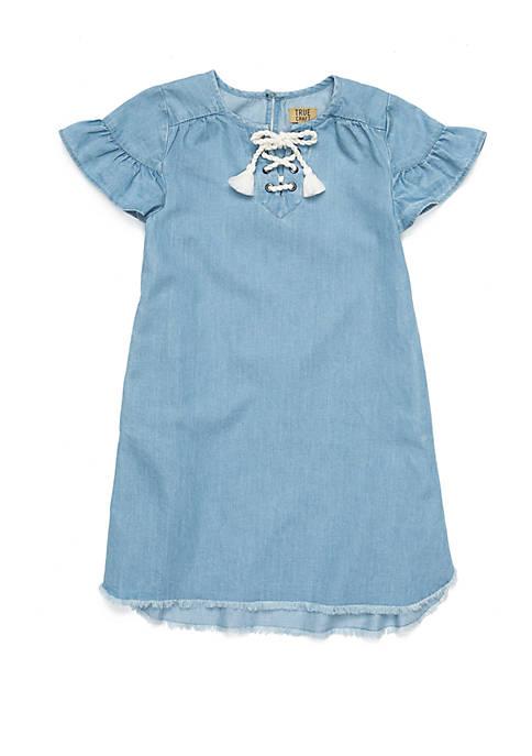 Girls 4-8 Ruffle Sleeve Chambray Dress