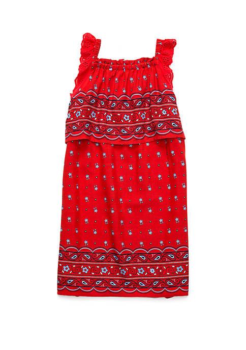 Girls 4-8 Eyelet Overlay Dress