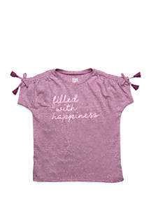 TRUE CRAFT Girls 4-6x Short Sleeve Drawcord Tee