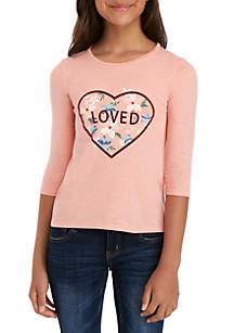 TRUE CRAFT Girls 4-6x 3/4 Sleeve Scoop Neck T Shirt