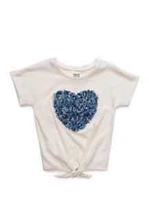 TRUE CRAFT Girls 4-6x Short Sleeve Heart Tee